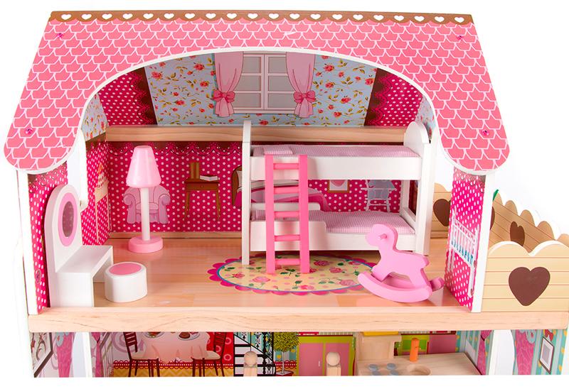 В домике Edufun EF 4109 иммется спальня с кроватками и мебелью