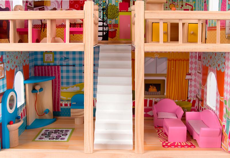 Кукольный домик Edufun с мебелью 90см EF 4109 подходит для кукол до 12 см