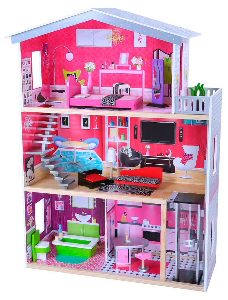 В кукольном домике Edufun EF4118 имеются 45 предметов мебели