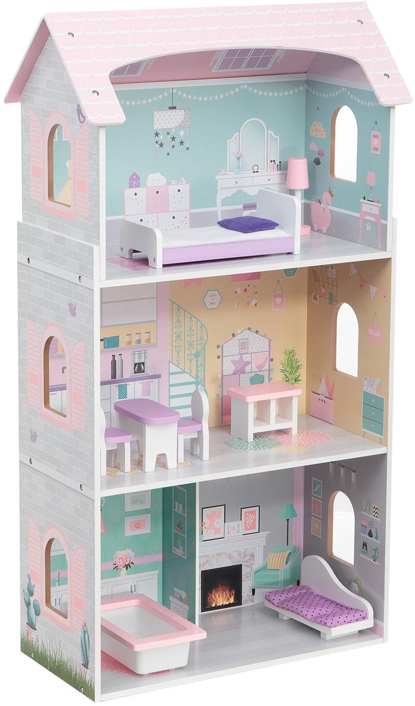 В домике для кукол Edufun EF4121 есть спальня, кухня, гостиная и ванная комната