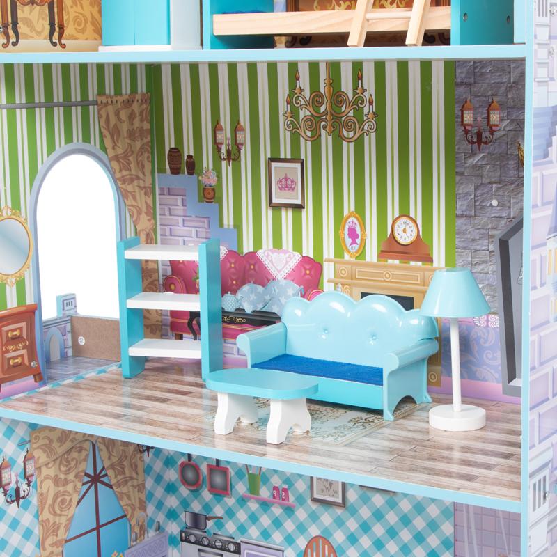 Кукольный домик Игруша с мебелью 141 см TX1095 вид второго этажа