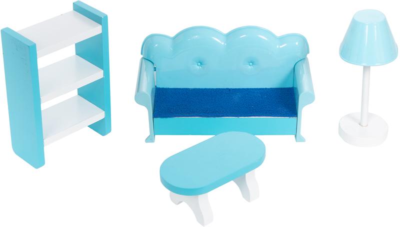 Кукольный домик Игруша с мебелью 141 см TX1095 с полками, диваном, столиком и бра