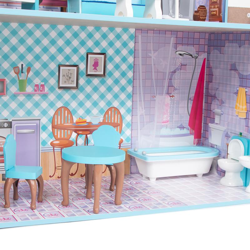 Кукольный домик Игруша с мебелью 141 см TX1095 вид первого этажа