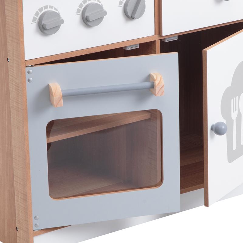 Дверцы шкафа кухни Edufun EF7253 93 открываются и внутри полки