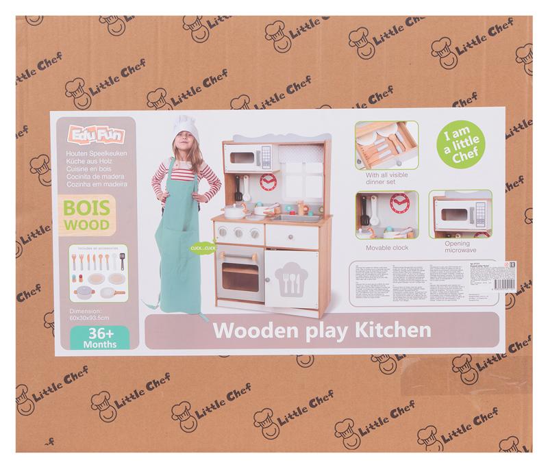 В коробке от кухни Edufun EF7253 93 см все детали разделены плотными защитными прокладками